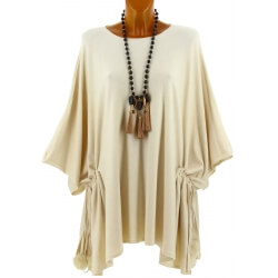 Poncho grande taille pull hiver beige CARLOS