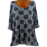Tunique tee shirt grande taille bohème gris RONDO