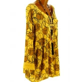 Tunique tee shirt grande taille bohème moutarde RONDO