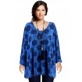 Tunique tee shirt grande taille bohème bleu dur RONDO