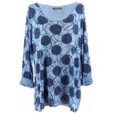 Tunique tee shirt grande taille bohème bleu jean RONDO
