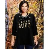 Tee shirt femme grande taille bohème noir LOVE