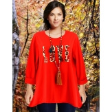Tee shirt femme grande taille bohème rouge LOVE