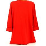 Tee shirt femme grande taille bohème rouge LOVE