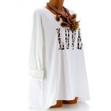 Tee shirt femme grande taille bohème blanc LOVE