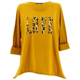 Tee shirt femme grande taille bohème moutarde LOVE