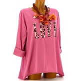 Tee shirt femme grande taille bohème rose LOVE