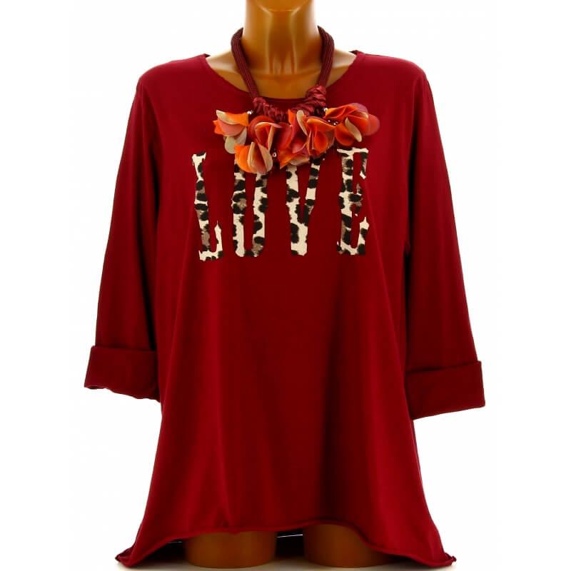tee shirt femme grande taille boh me bordeaux love. Black Bedroom Furniture Sets. Home Design Ideas