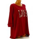 Tee shirt femme grande taille bohème bordeaux LOVE