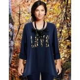 Tee shirt femme grande taille bohème bleu marine LOVE