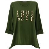 Tee shirt femme grande taille bohème kaki LOVE