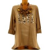 Tee shirt femme grande taille bohème camel LOVE