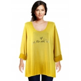 Tunique tee shirt grande taille molletonné moutarde STAR