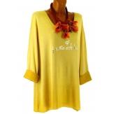 Tunique tee shirt grande taille molletonné moutarde STAR