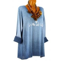 Tunique tee shirt grande taille molletonné bleu jean STAR