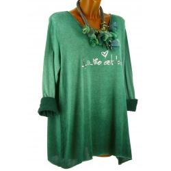 Tunique tee shirt grande taille molletonné vert STAR