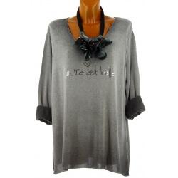 Tunique tee shirt grande taille molletonné gris STAR