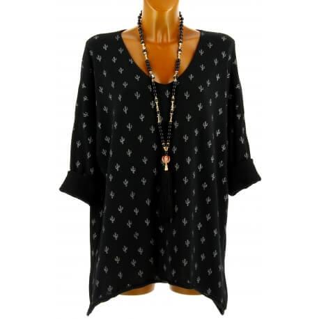 Tunique tee shirt grande taille bohème noir TEXAS