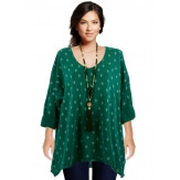 Tunique tee shirt grande taille bohème vert TEXAS