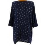 Tunique tee shirt grande taille bohème bleu marine TEXAS
