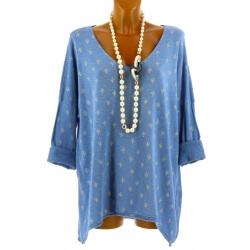 Tunique tee shirt grande taille bohème bleu ciel TEXAS