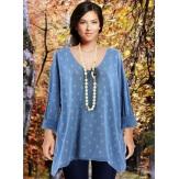 Tunique tee shirt grande taille bohème bleu ciel TEXAS-Tunique femme-CHARLESELIE94