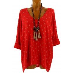 Tunique tee shirt grande taille bohème rouge TEXAS