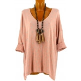 Tunique tee shirt grande taille bohème rose TEXAS