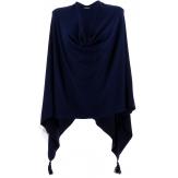 Poncho cape femme hiver pompons bleu CHARLOU