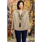 Poncho cape femme hiver pompons taupe CHARLOU