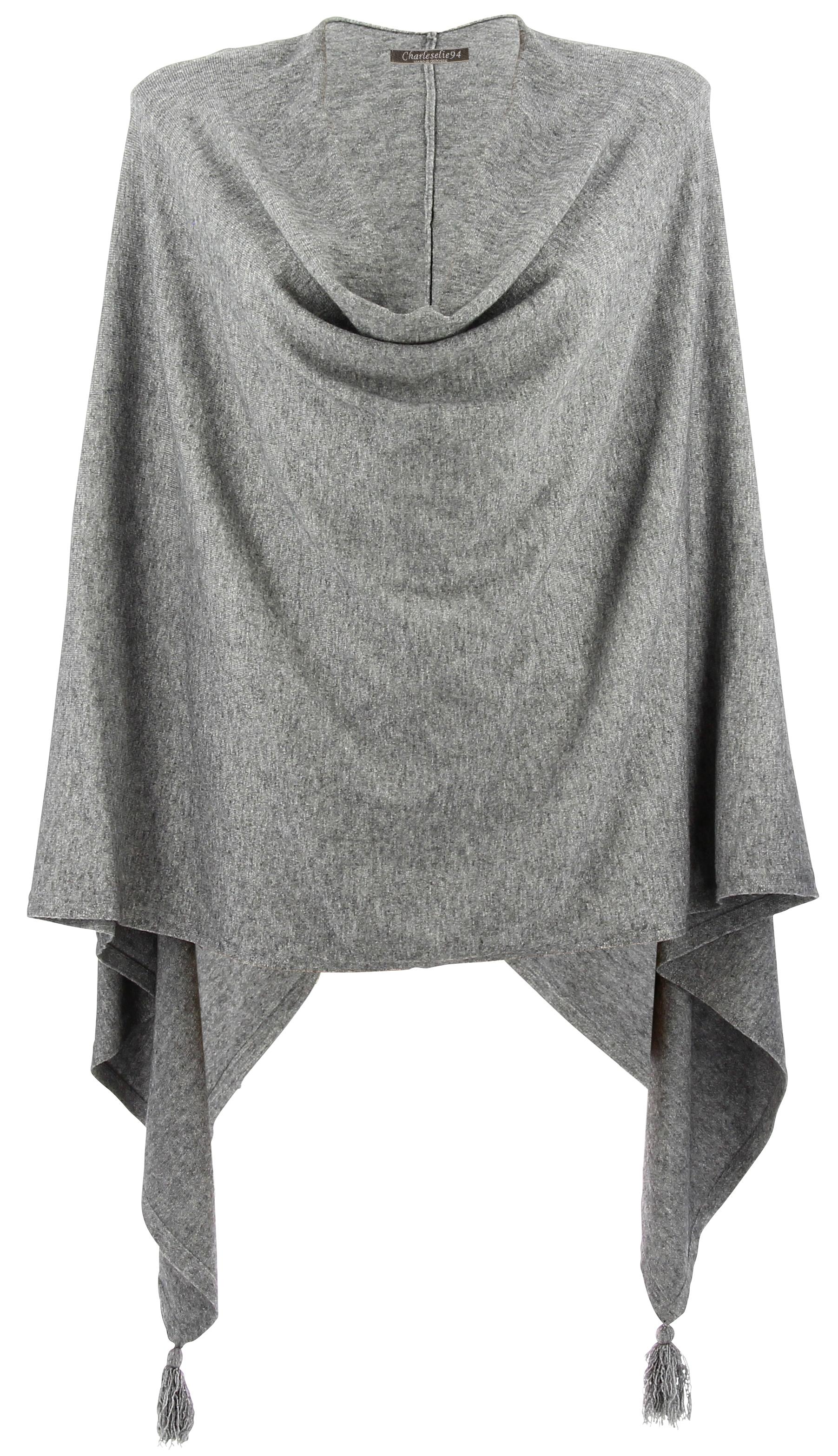 poncho cape femme hiver pompons gris charlou. Black Bedroom Furniture Sets. Home Design Ideas