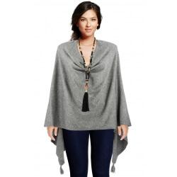 Poncho cape femme hiver pompons gris CHARLOU