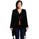 Poncho cape femme hiver pompons noir CHARLOU