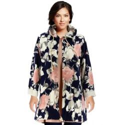 Veste femme à capuche sweat bohème CLODETTE bleu marine
