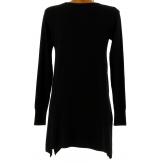 Pull tunique long hiver évasé FLAVIE noir