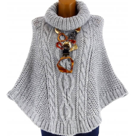 Poncho pull cape laine alpaga hiver grosse maille ELODY gris clair