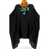 Tunique longue grande taille poncho bohème OLGA noir