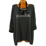 Tunique bohème grande taille t-shirt gris MADEMOISELLE
