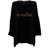Tunique bohème grande taille t-shirt noir MADEMOISELLE
