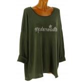 Tunique bohème grande taille t-shirt kaki MADEMOISELLE