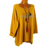 Tunique bohème grande taille t-shirt moutarde MADEMOISELLE