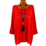 Tunique bohème grande taille t-shirt rouge MADEMOISELLE