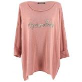 Tunique bohème grande taille t-shirt rose MADEMOISELLE