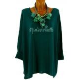 Tunique bohème grande taille t-shirt vert MADEMOISELLE