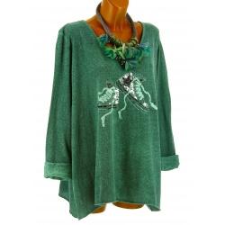 Tunique bohème grande taille t-shirt vert BASKETS