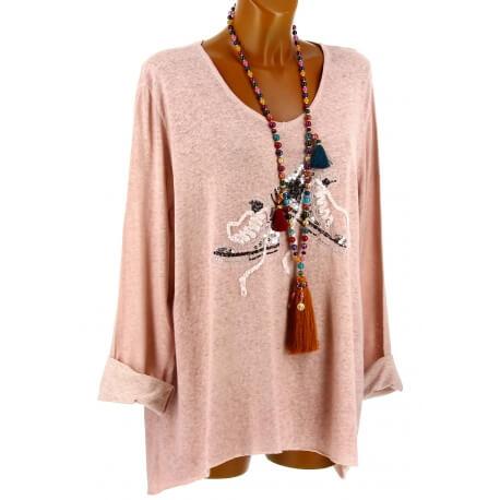 Tunique bohème grande taille t-shirt rose BASKETS