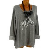 Tunique bohème grande taille t-shirt gris BASKETS