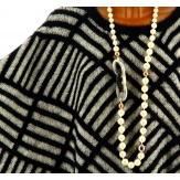 Poncho pull grande taille laine hiver noir GLORIA
