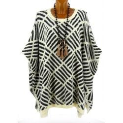 Poncho pull grande taille laine hiver beige GLORIA