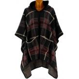 Poncho cape capuche laine tartan noir CHRISTEL